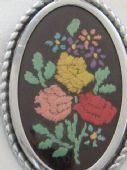 Bold Embroidered Brooch - Mixed Flowers on Black Background - 1940s and 1950s Vintage Brooch